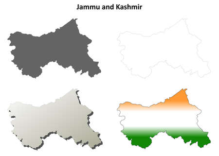 kashmir: Jammu and Kashmir blank detailed outline map set