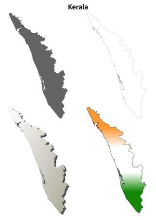 kerala: Kerala blank detailed vector outline map set