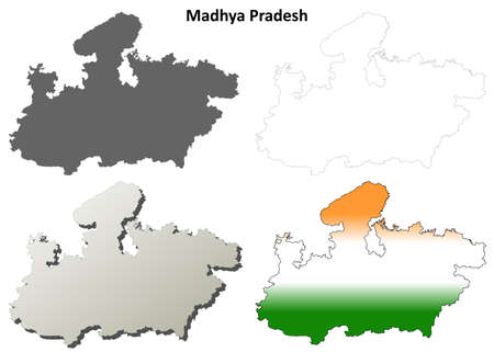 bhopal: Madhya Pradesh blank detailed outline map set