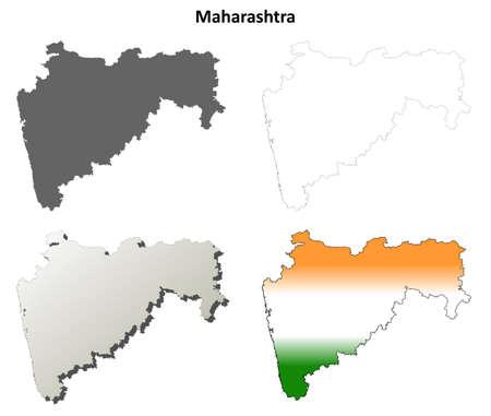 maharashtra: Maharashtra blank detailed vector outline map set