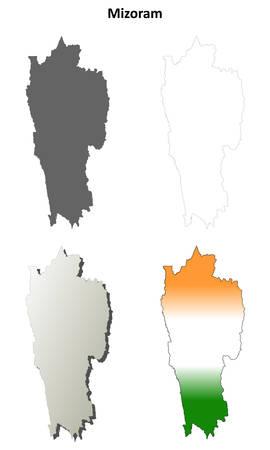 detailed: Mizoram blank detailed vector outline map set