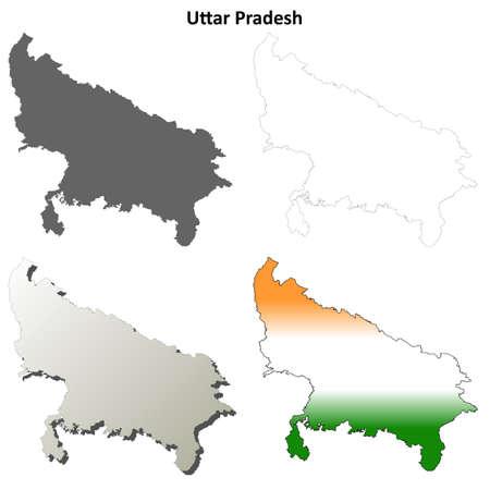 uttar pradesh: Uttar Pradesh blank detailed outline map set
