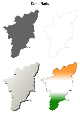 tamil nadu: Tamil Nadu blank detailed outline map set
