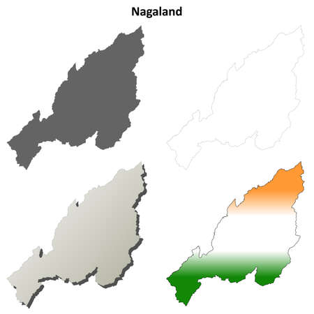 nagaland: Nagaland blank detailed vector outline map set