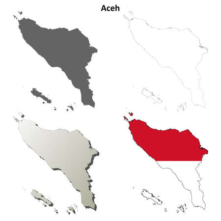 coastlines: Aceh blank detailed vector outline map set
