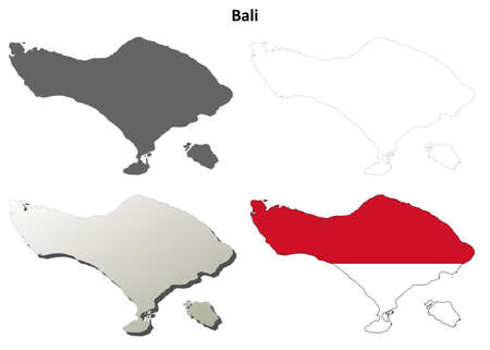 bali province: Bali blank detailed vector outline map set