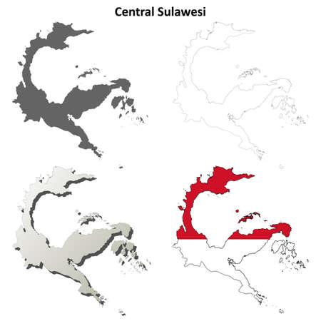 coastline: Central Sulawesi blank detailed vector outline map set