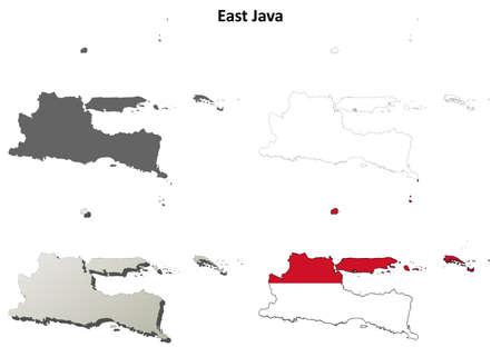 java: East Java blank detailed vector outline map set Illustration