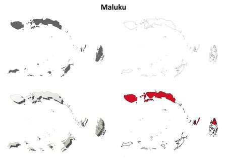 coastline: Maluku blank detailed vector outline map set