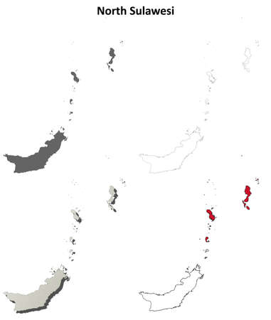 sulawesi: North Sulawesi blank detailed vector outline map set