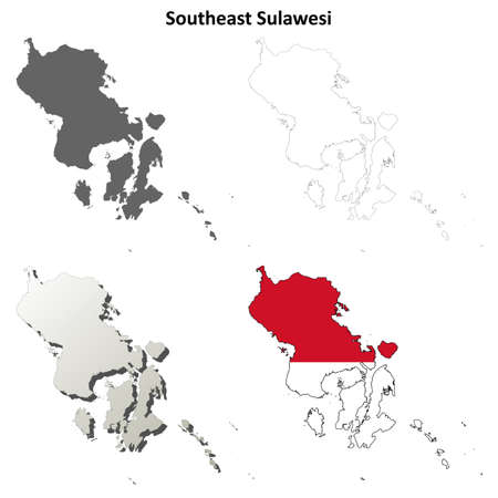 coastline: Southeast Sulawesi detailed vector blank outline map set Illustration