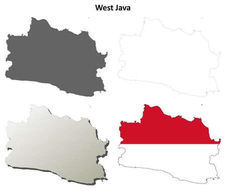 java: West Java blank detailed vector outline map set