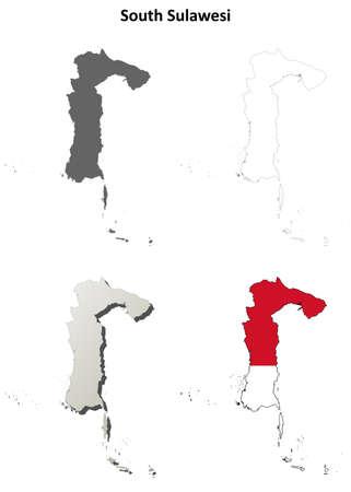 sulawesi: South Sulawesi blank detailed vector outline map set Illustration