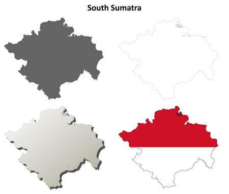 sumatra: South Sumatra blank detailed vector outline map set