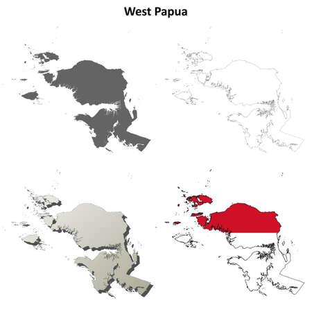 coastal: West Papua blank detailed vector outline map set Illustration