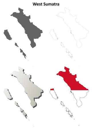 sumatra: West Sumatra blank detailed vector outline map set Illustration