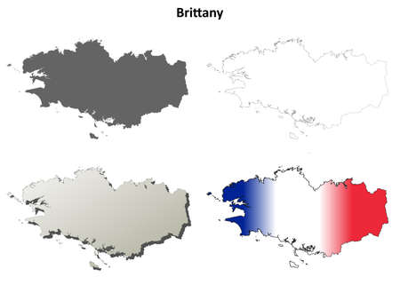 brittany: Brittany blank detailed vector outline map set Illustration