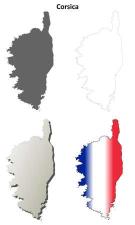 ajaccio: Corsica blank detailed vector outline map set Illustration