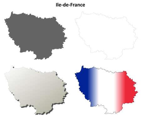 ile de france: Ile-de-France blank detailed vector outline map set