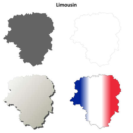 limousin: Limousin blank detailed vector outline map set