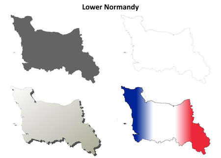 normandy: Lower Normandy blank detailed outline map set