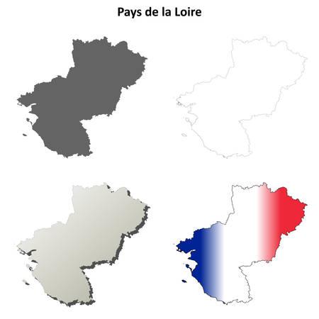 coastlines: Pays de la Loire blank detailed outline map set