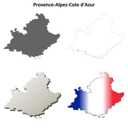 regions: Provence-Alpes-Cote dAzur blank detailed outline map set