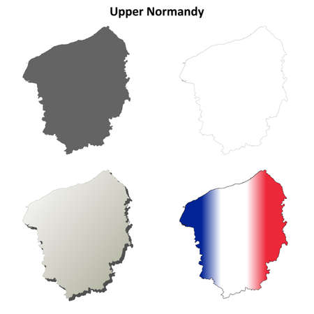 normandy: Upper Normandy blank detailed outline map set