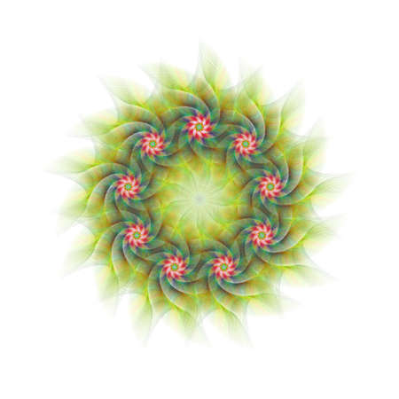 branched: Nine branched abstract circular fractal flower design