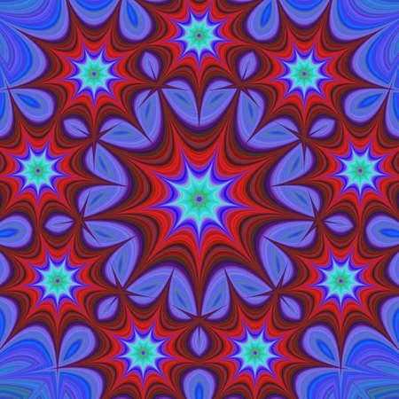 branched: Nine branched star mandala fractal design background Illustration