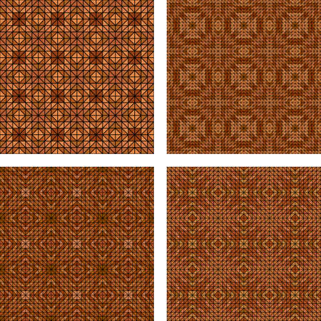 light brown: Light brown seamless mosaic wallpaper design set Illustration