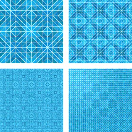 tiled floor: Blue mosaic tiled floor design pattern set