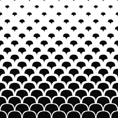 diverge: Seamless black and white curved shape pattern background Illustration