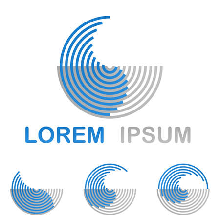 Blue round water technology logo design concept set