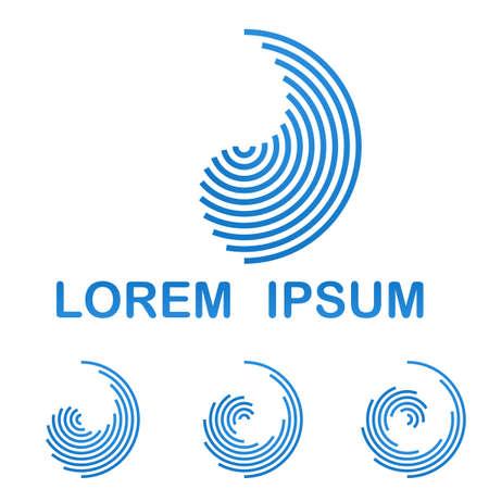telecommunication: Blue telecommunication logo design template icon set Illustration