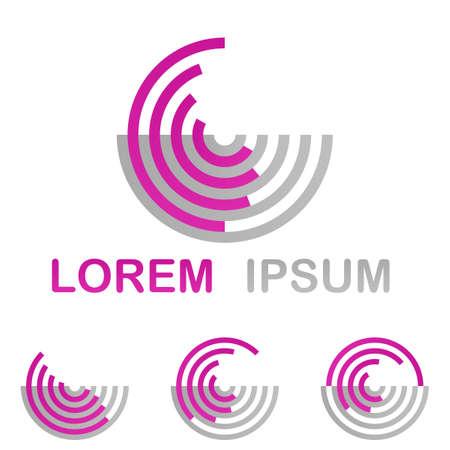 circulos concentricos: Tecnología Magenta logo icono de diseño establece desde semicírculos