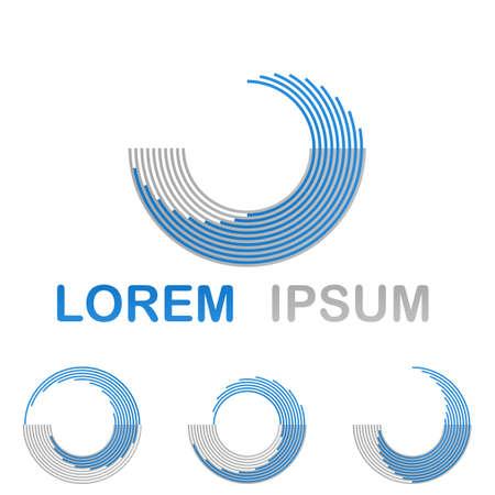 Blue water, spa, health and wellness symbol design set