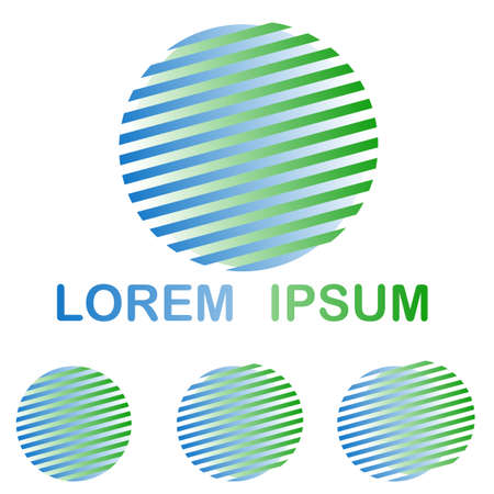 Green and blue striped round spa logo design set