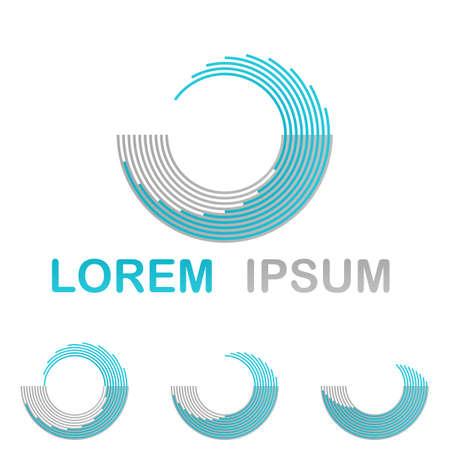 circulos concentricos: La tecnología del agua conjunto de diseño de logotipo azul claro