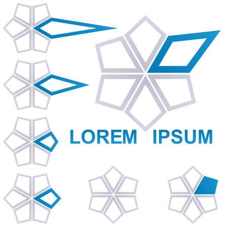 star logo: Grey and blue star logo icon design set Illustration