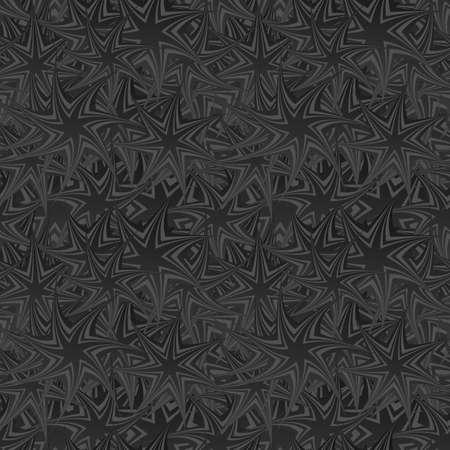 star pattern: Black seamless twisted star pattern design background Illustration