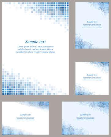 square sheet: Blue page corner mosaic design template set
