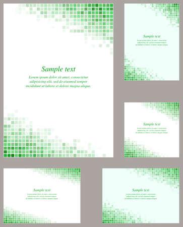 Green page corner pixel mosaic design template