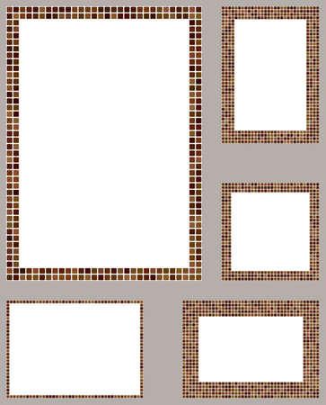 page layout: Brown pixel mosaic page layout border template set