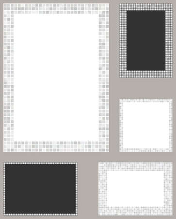 page layout: White color pixel mosaic page layout border template set