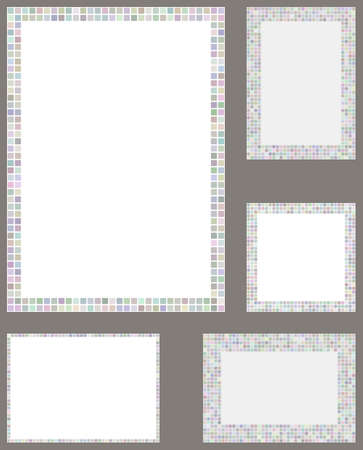 page layout: Light color pixel mosaic page layout border template set Illustration