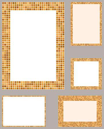 page layout: Orange pixel mosaic page layout border template set