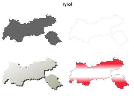 チロル: Tyrol blank detailed vector outline map set