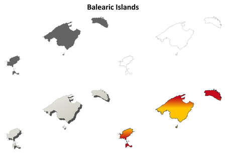 Balearic Islands blank detailed outline map set