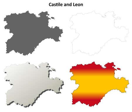 leon: Castile and Leon blank detailed outline map set Illustration